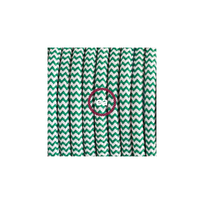 Pendel in porcellana, lampada sospensione cavo tessile ZigZag Verde RZ06