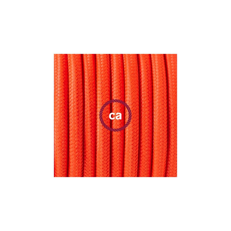 Pendel in porcellana, lampada sospensione cavo tessile Arancione Fluo RF15