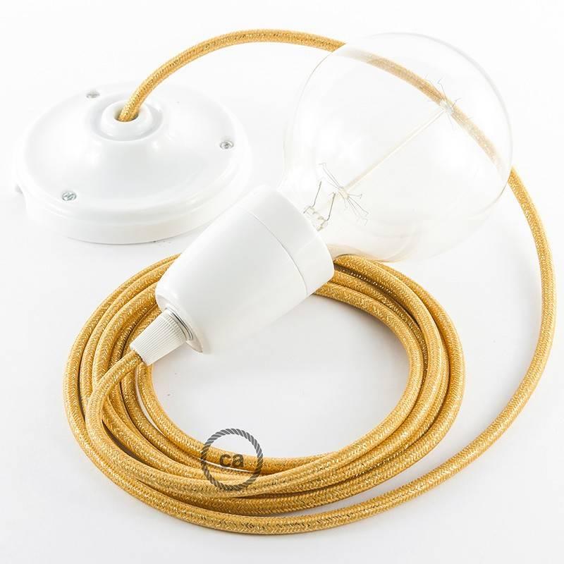 Pendel in porcellana, lampada sospensione cavo tessile Glitterato Oro RL05
