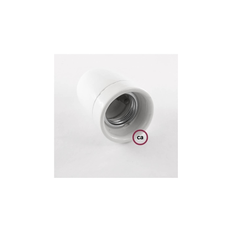 Pendel in porcellana, lampada sospensione cavo tessile Glitterato Bianco RL01