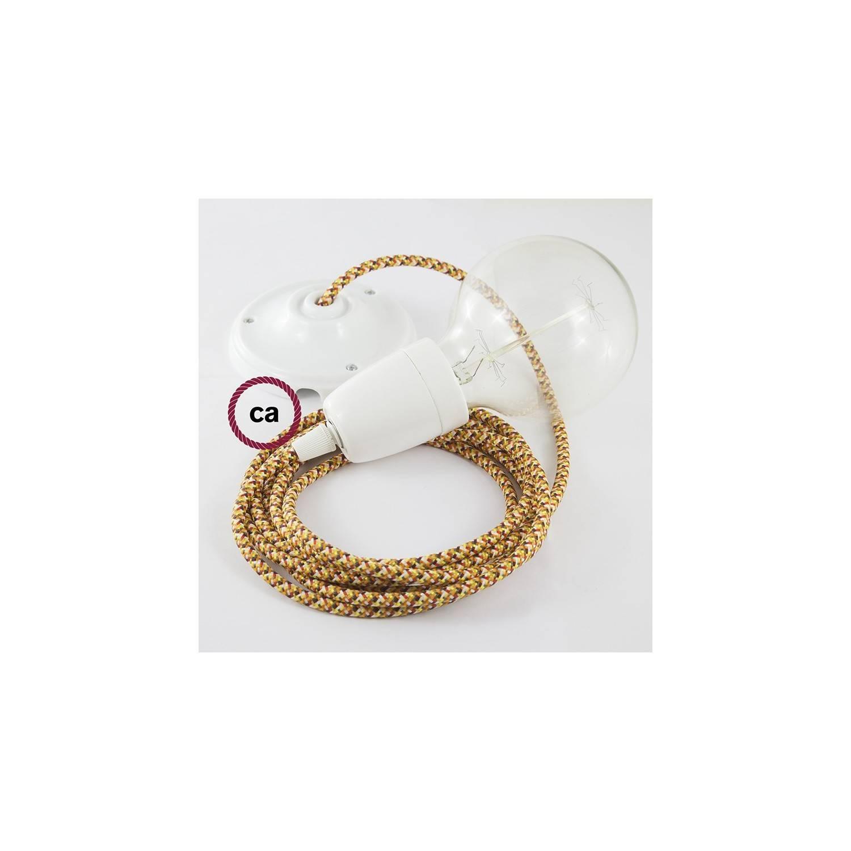 Pendel in porcellana, lampada sospensione cavo tessile Pixel Arancione RX01