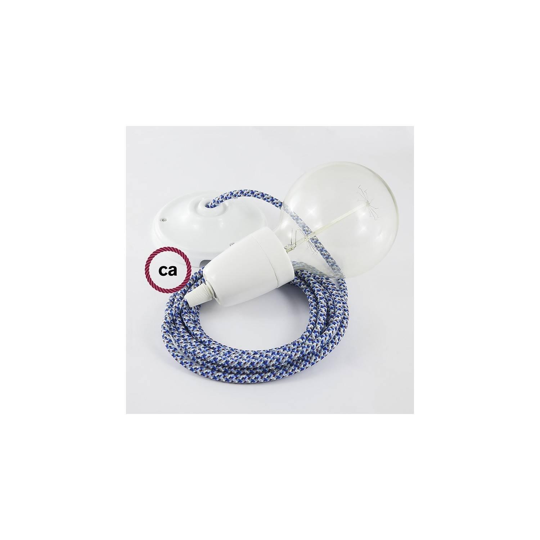Pendel in porcellana, lampada sospensione cavo tessile Pixel Turchese RX03