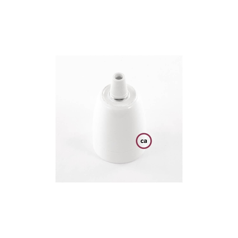Pendel in porcellana, lampada sospensione cavo tessile Effetto Seta Argento TM02