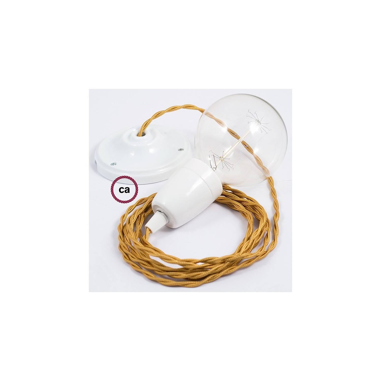 Pendel in porcellana, lampada sospensione cavo tessile Effetto Seta Oro TM05