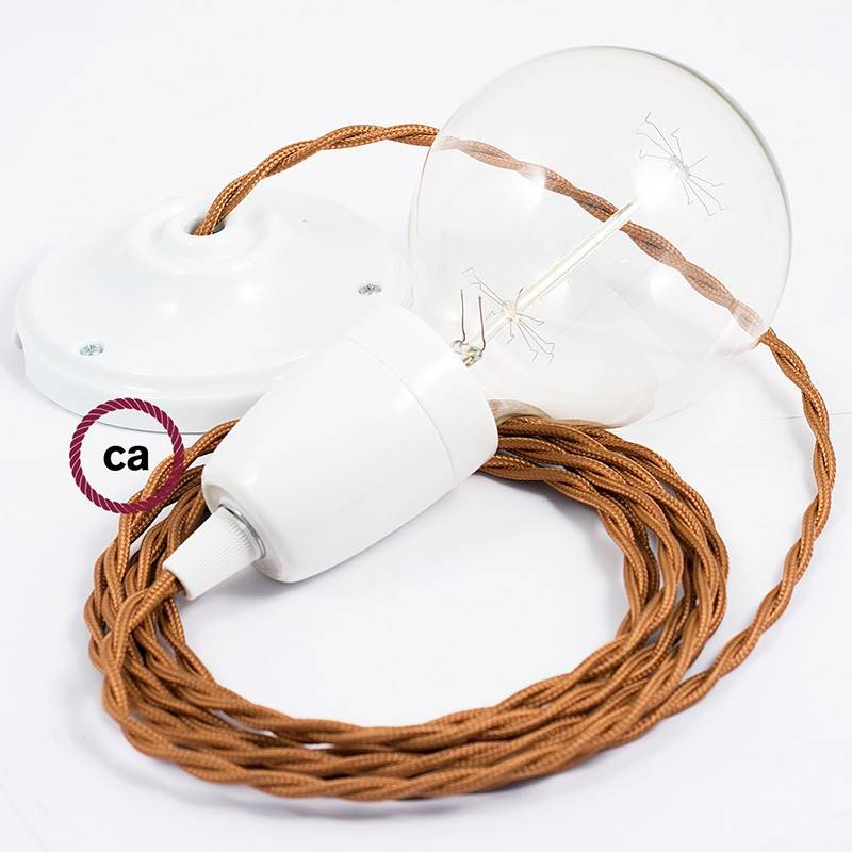 Pendel in porcellana, lampada sospensione cavo tessile Effetto Seta Whiskey TM22