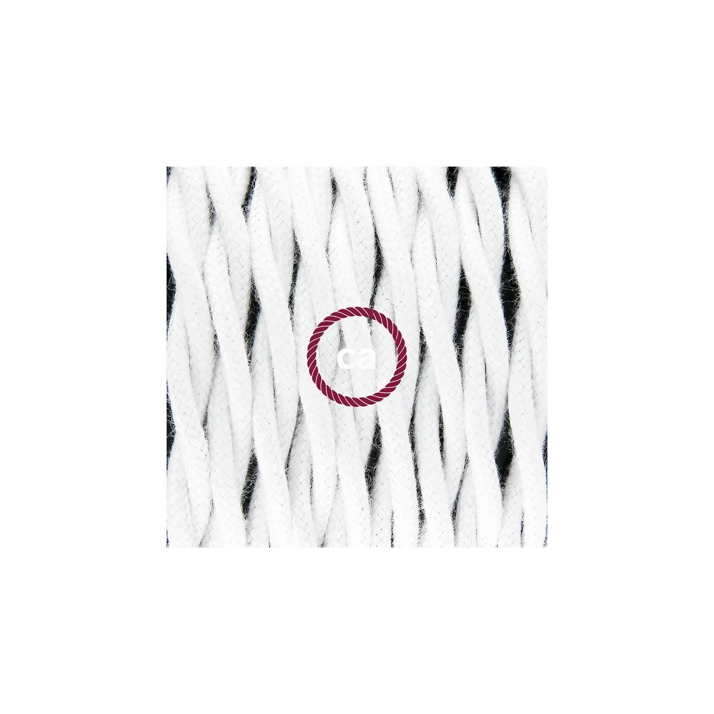 Pendel in porcellana, lampada sospensione cavo tessile Cotone Bianco TC01