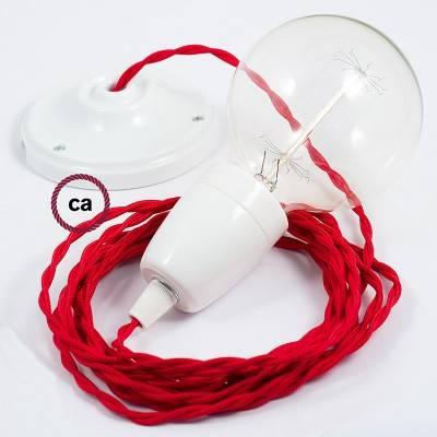 Pendel in porcellana, lampada sospensione cavo tessile Effetto Seta Rosso TM09