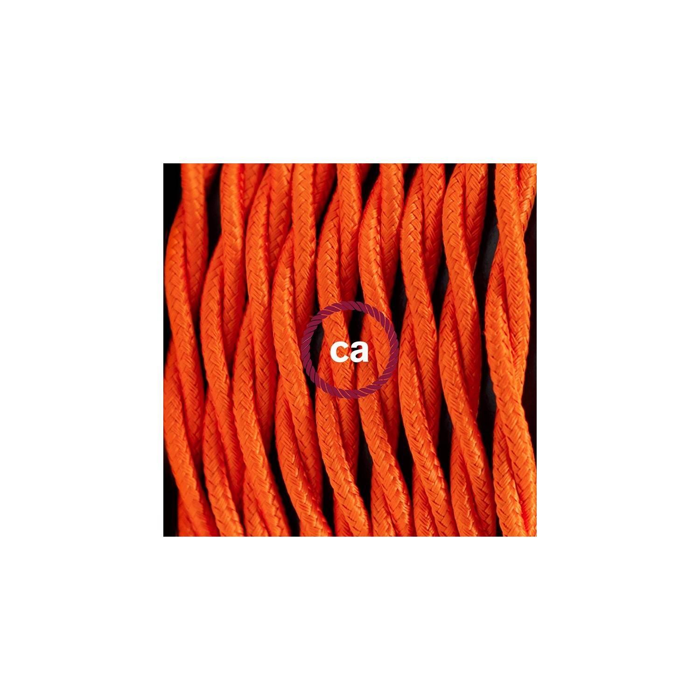 Pendel in porcellana, lampada sospensione cavo tessile Effetto Seta Arancione TM15