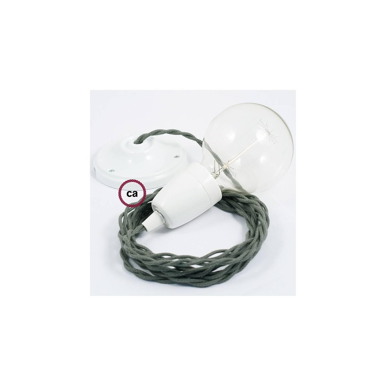 Pendel in porcellana, lampada sospensione cavo tessile Cotone Grigio Verde TC63