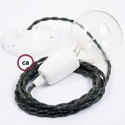 Pendel in porcellana, lampada sospensione cavo tessile Lino Naturale Antracite TN03