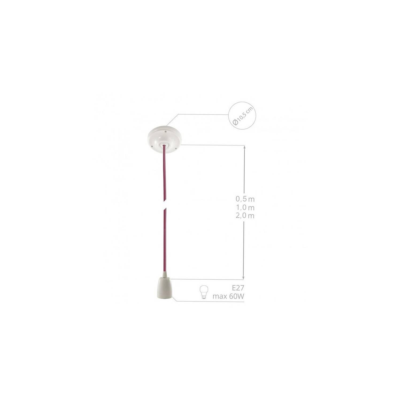 Pendel in porcellana, lampada sospensione cavo tessile Glitterato Rosso RL09