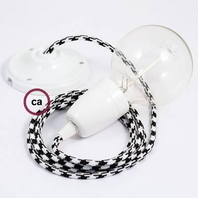 Pendel in porcellana, lampada sopensione cavo tessile Bicolore Nero RP04
