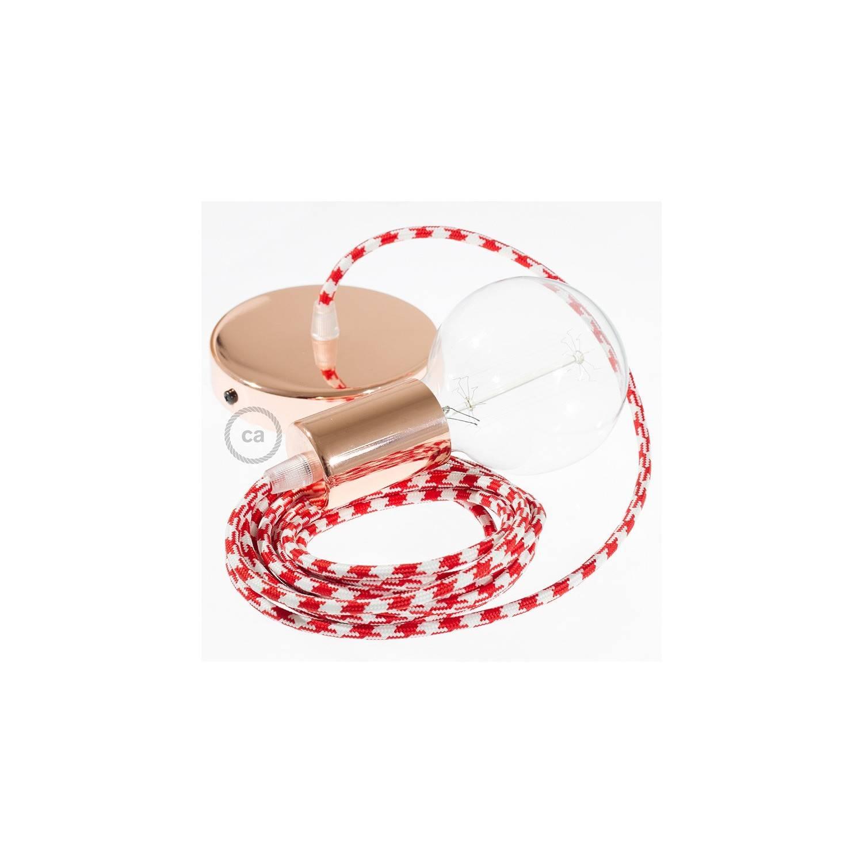 Pendel singolo, lampada sopensione cavo tessile Bicolore Rosso RP09