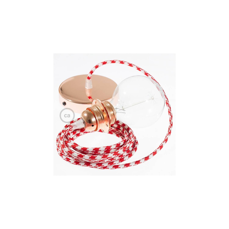 Pendel per paralume, lampada sopensione cavo tessile Bicolore Rosso RP09