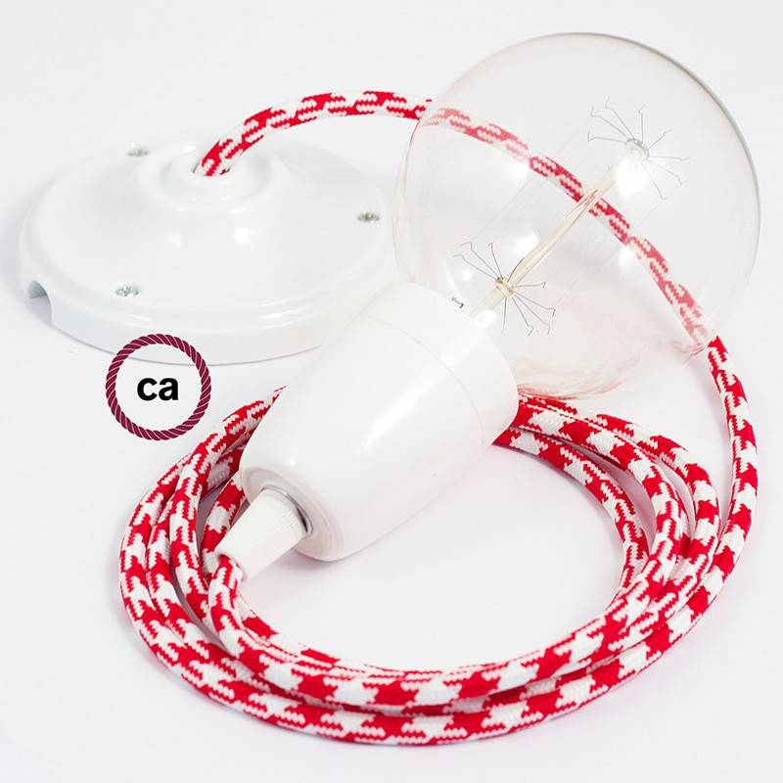 Pendel in porcellana, lampada sopensione cavo tessile Bicolore Rosso RP09