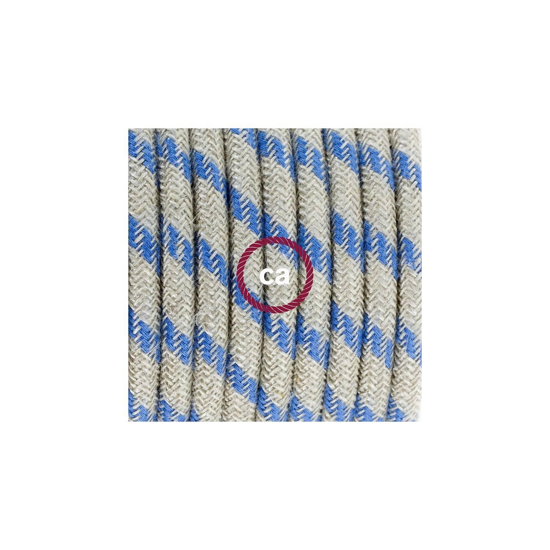 Pendel in porcellana, lampada sospensione cavo tessile Stripes Blu Steward RD55
