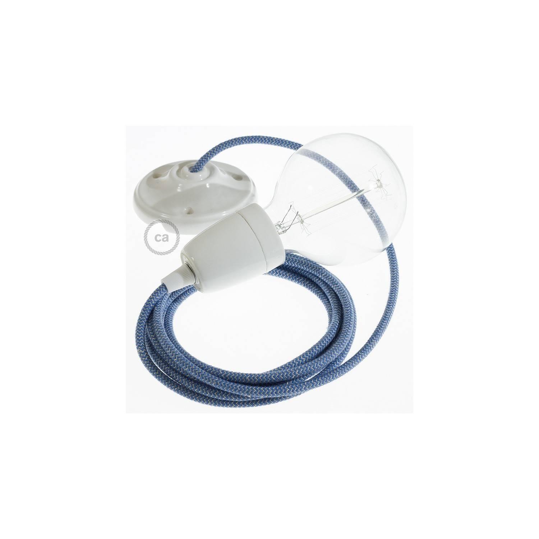 Pendel in porcellana, lampada sospensione cavo tessile ZigZag Blu Steward RD75