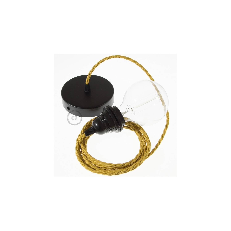 Pendel per paralume, lampada sospensione cavo tessile Effetto Seta Senape TM25