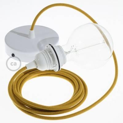 Pendel per paralume, lampada sospensione cavo tessile Cotone Miele Dorato RC31