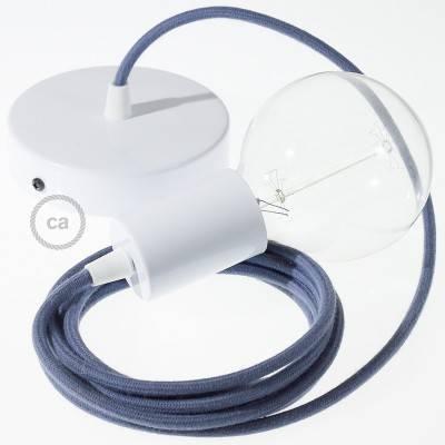 Pendel singolo, lampada sospensione cavo tessile Cotone Grigio Pietra RC30