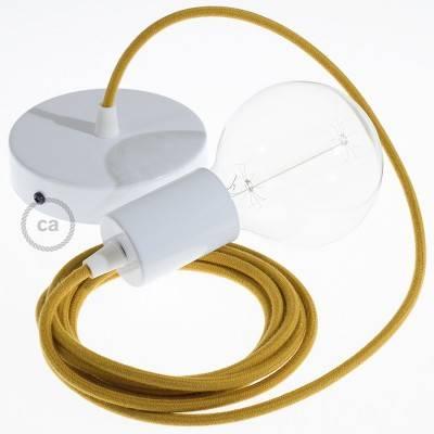 Pendel singolo, lampada sospensione cavo tessile Cotone Miele Dorato RC31