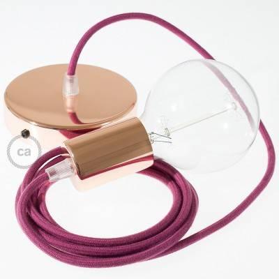 Pendel singolo, lampada sospensione cavo tessile Cotone Vinaccia RC32