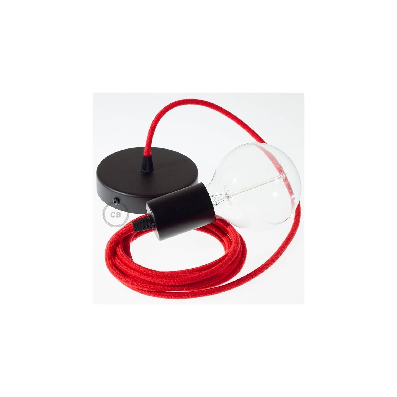 Pendel singolo, lampada sospensione cavo tessile Cotone Rosso Fuoco RC35