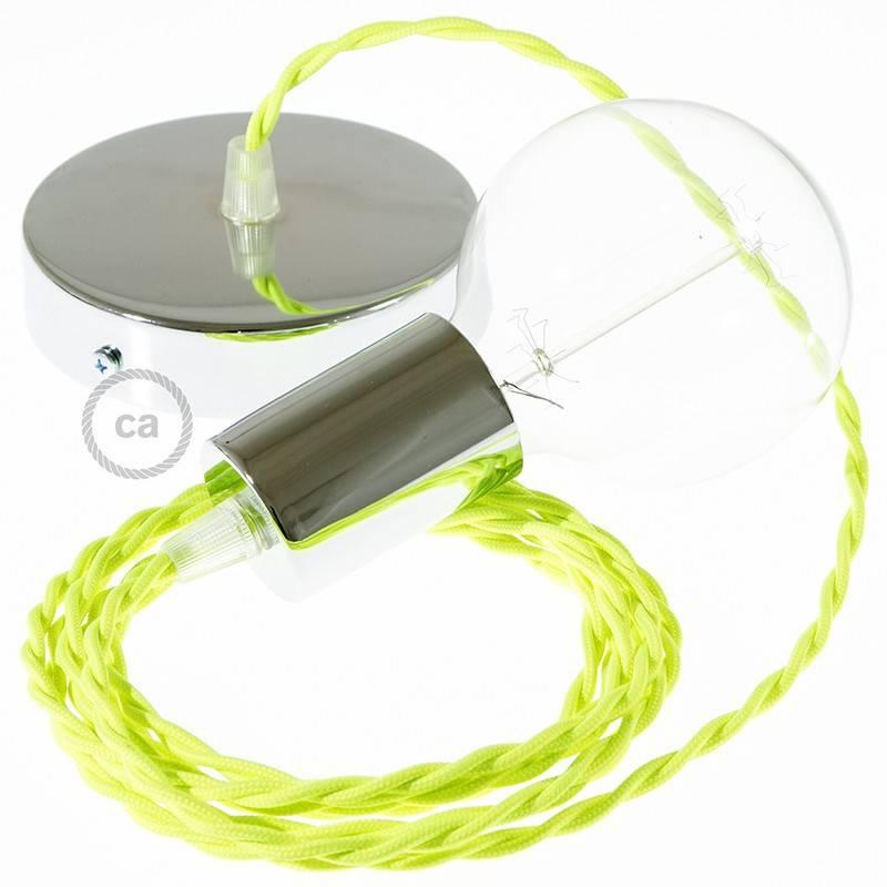 Pendel singolo, lampada sospensione cavo tessile Effetto Seta Giallo Fluo TF10
