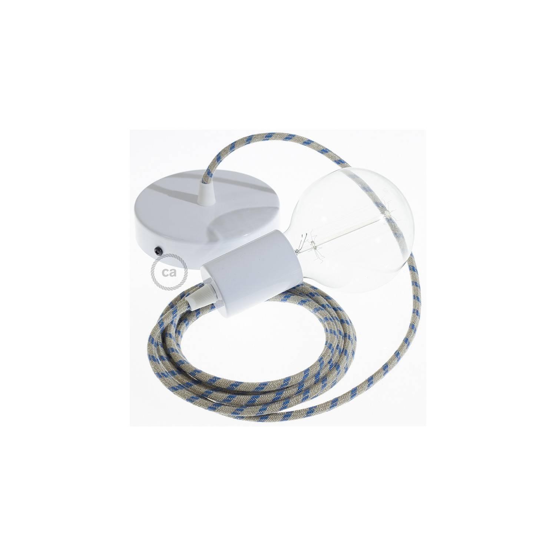 Pendel singolo, lampada sospensione cavo tessile Stripes Blu Steward RD55