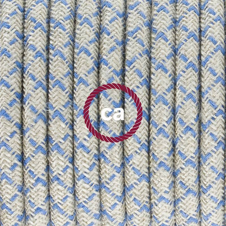 Pendel singolo, lampada sospensione cavo tessile Losanga Blu Steward RD65