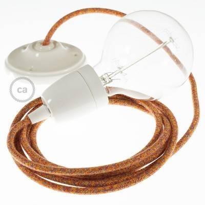 Pendel in porcellana, lampada sospensione cavo tessile Cotone Indian Summer RX07