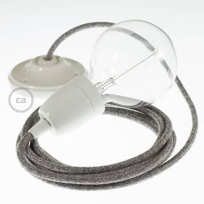Pendel in porcellana, lampada sospensione cavo tessile Lino Naturale Grigio RN02