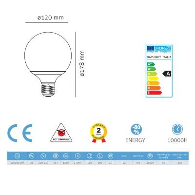 Lampadina a risparmio energetico Globo 120 25W E27