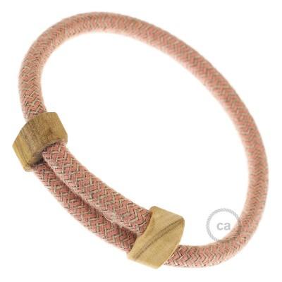 Creative-Bracelet in Cotone e Lino naturale Rosa Antico RD71. Chiusura scorrevole in legno. Made in Italy.