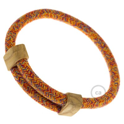 Creative-Bracelet in Cotone Indian Summer RX07. Chiusura scorrevole in legno. Made in Italy.