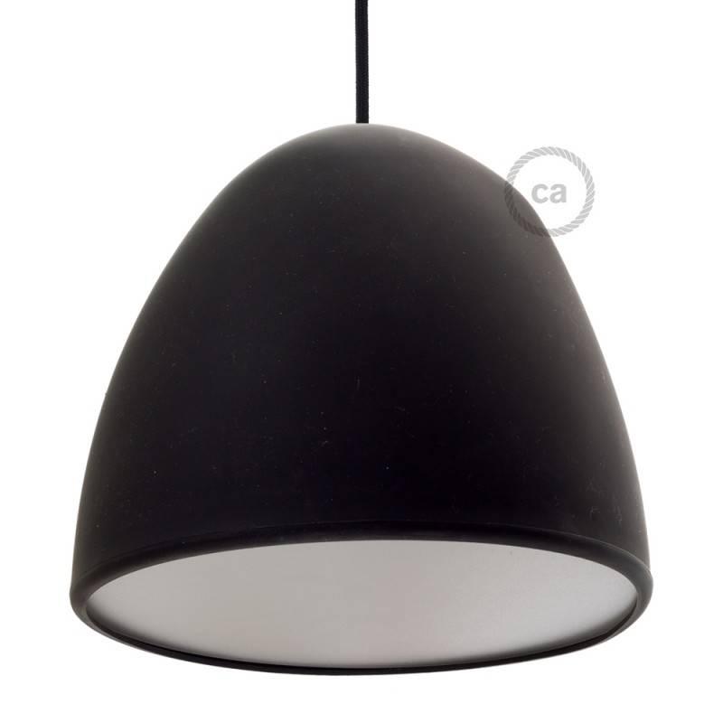 Paralume in silicone nero completo di diffusore e serracavo. Diametro 25 cm.