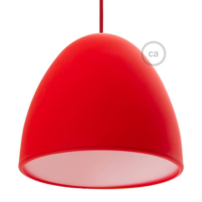 Paralume in silicone rosso completo di diffusore e serracavo. Diametro 25 cm.