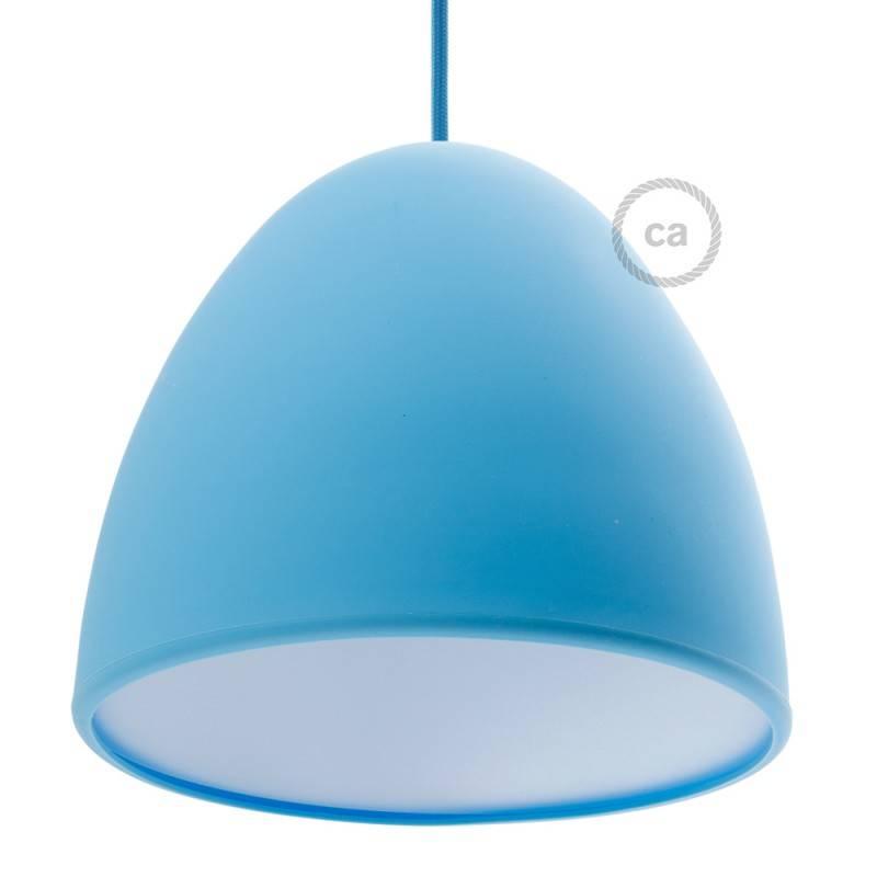 Paralume in silicone azzurro completo di diffusore e serracavo. Diametro 25 cm.