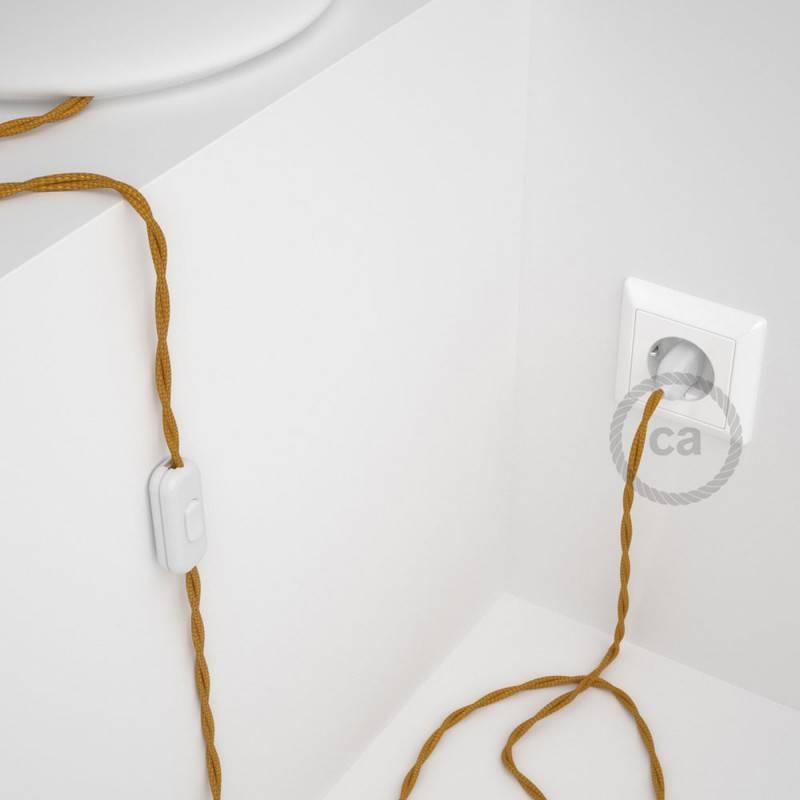 Cablaggio per lampada, cavo TM05 Effetto Seta Oro 1,80 m. Scegli il colore dell'interuttore e della spina.