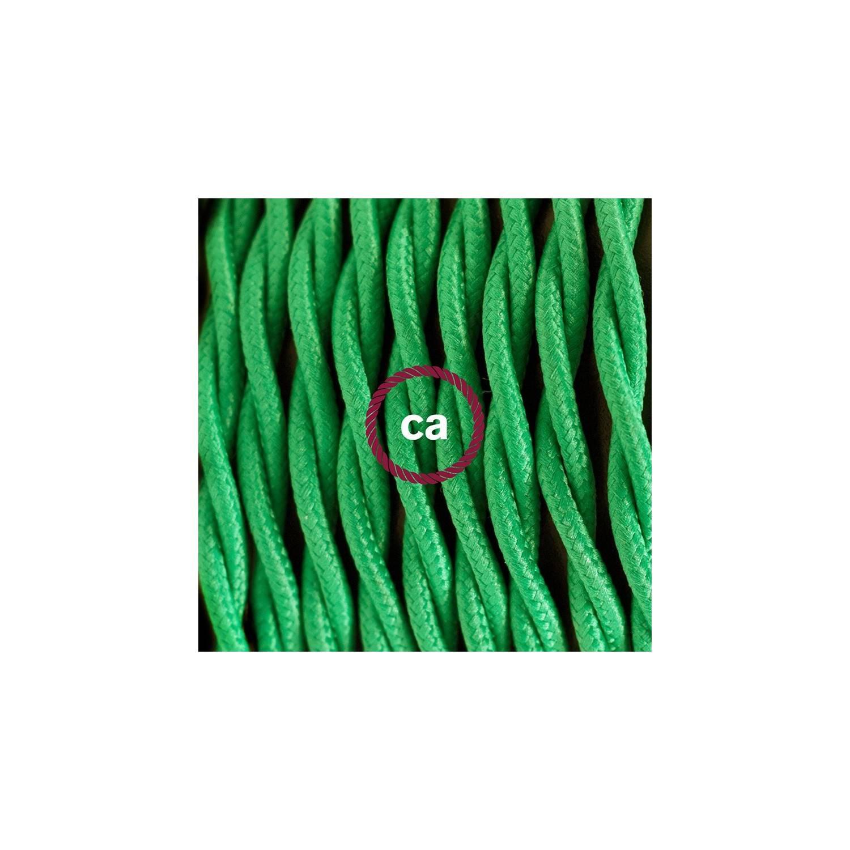 Cablaggio per lampada, cavo TM06 Effetto Seta Verde 1,80 m. Scegli il colore dell'interuttore e della spina.