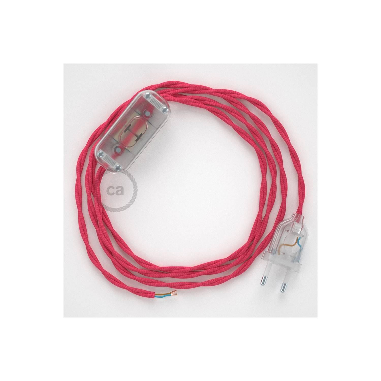 Cablaggio per lampada, cavo TM08 Effetto Seta Fucsia 1,80 m. Scegli il colore dell'interuttore e della spina.