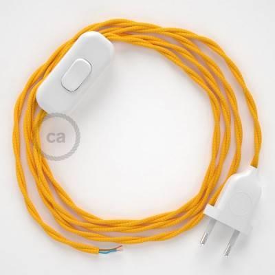 Cablaggio per lampada, cavo TM10 Effetto Seta Giallo 1,80 m. Scegli il colore dell'interuttore e della spina.