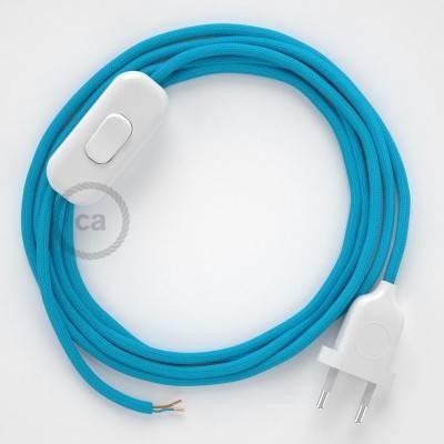 Cablaggio per lampada, cavo RM11 Effetto Seta Azzurro 1,80 m. Scegli il colore dell'interuttore e della spina.