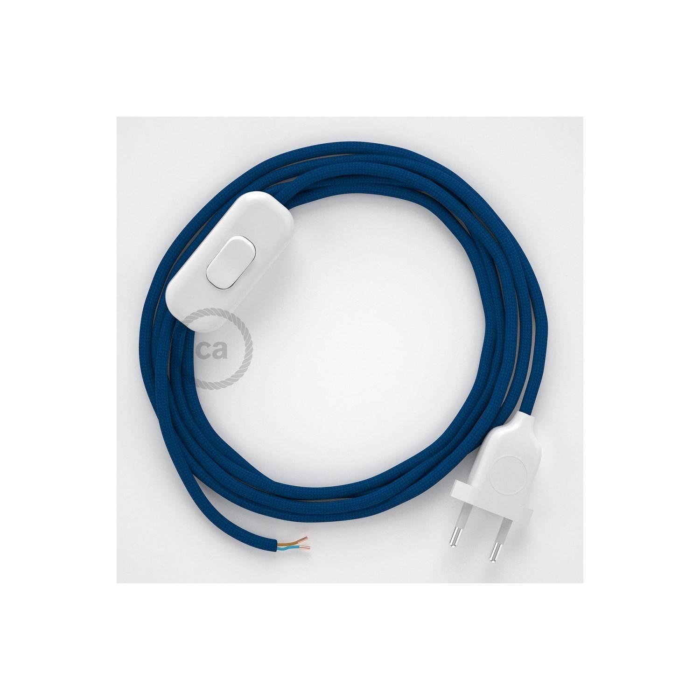Cablaggio per lampada, cavo RM12 Effetto Seta Blu 1,80 m. Scegli il colore dell'interuttore e della spina.