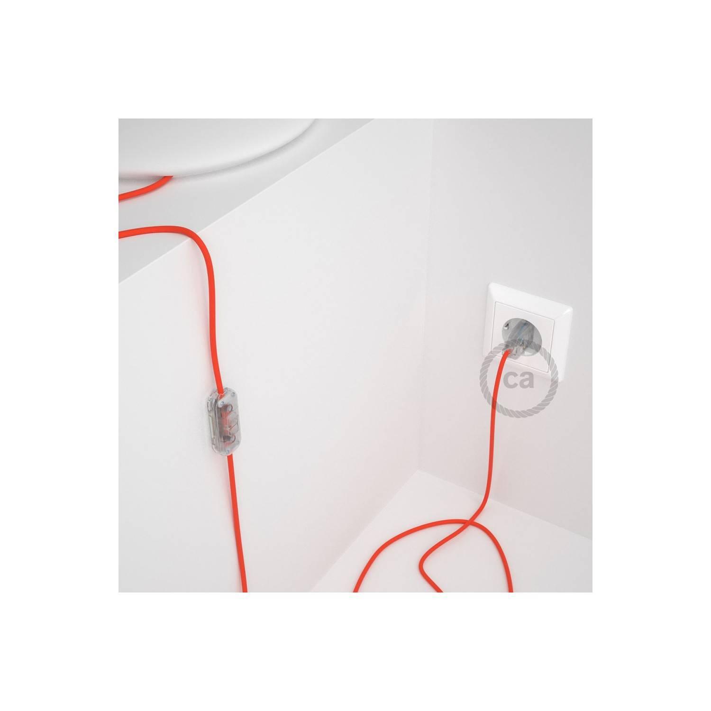 Cablaggio per lampada, cavo RF15 Effetto Seta Arancione Fluo 1,80 m. Scegli il colore dell'interuttore e della spina.