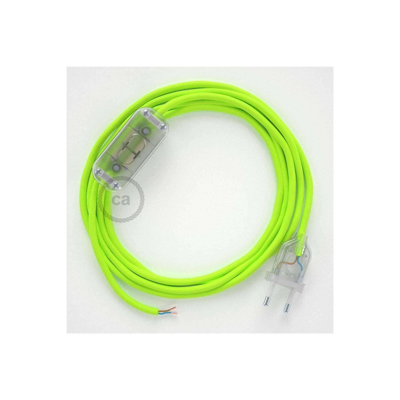 Cablaggio per lampada, cavo RF10 Effetto Seta Giallo Fluo 1,80 m. Scegli il colore dell'interuttore e della spina.