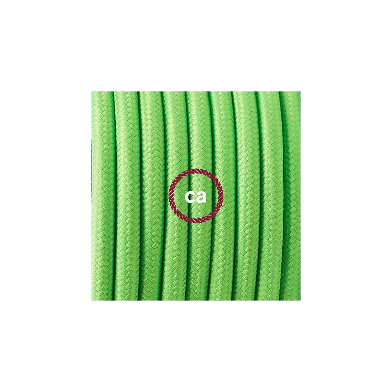 Cablaggio per lampada, cavo RF06 Effetto Seta Verde Fluo 1,80 m. Scegli il colore dell'interuttore e della spina.