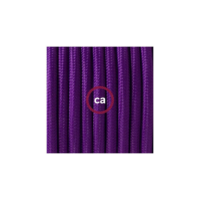 Cablaggio per lampada, cavo RM14 Effetto Seta Viola 1,80 m. Scegli il colore dell'interuttore e della spina.