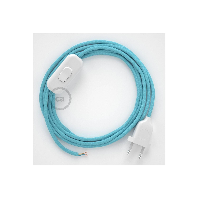 Cablaggio per lampada, cavo RM17 Effetto Seta Azzurro Baby 1,80 m. Scegli il colore dell'interuttore e della spina.