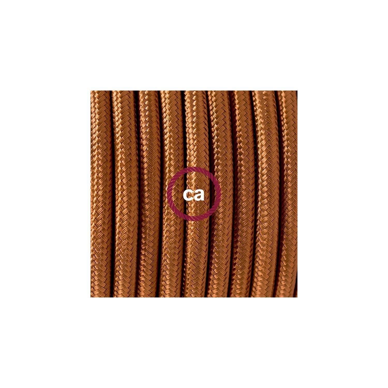 Cablaggio per lampada, cavo RM22 Effetto Seta Whiskey 1,80 m. Scegli il colore dell'interuttore e della spina.